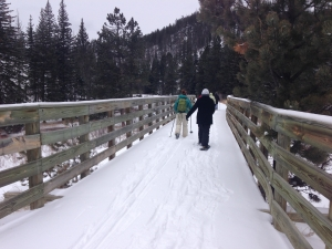 Snowshoeing in the Black Hills - across bridge